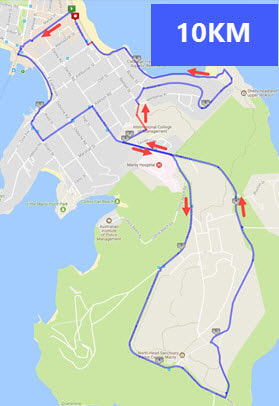Manly Fun Run 10km Route