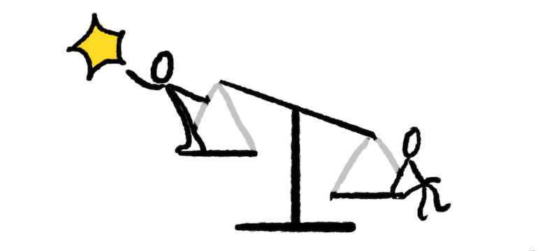 Two stick figures perched on a scale, one reaching for a star, the other sitting