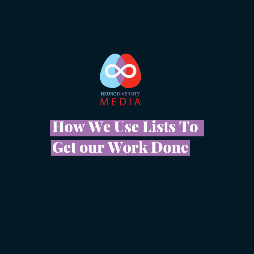 "Dark blue background with the words ""How we use lists to get work done"""