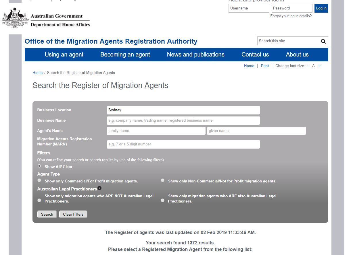 Search of the MARA Register for Migration Agents in Sydney