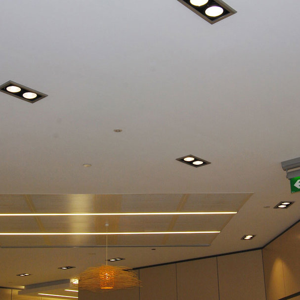 Custom LED twin ceiling lights improve sustainability in Canberra building