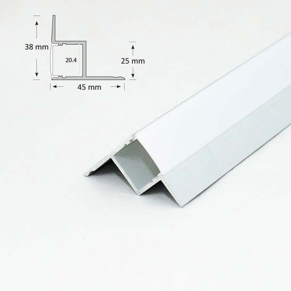 Extrusion for ceiling and wall edge, 024