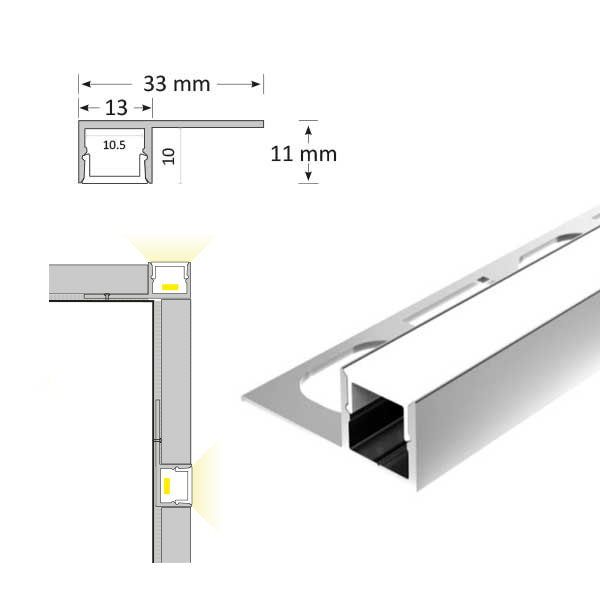 Tile Edge LED Extrusion, TL007