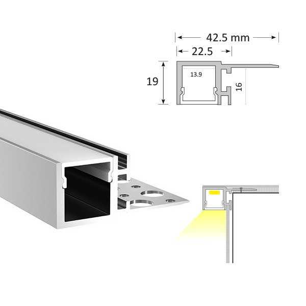 Tile Edge LED Extrusion, TL008