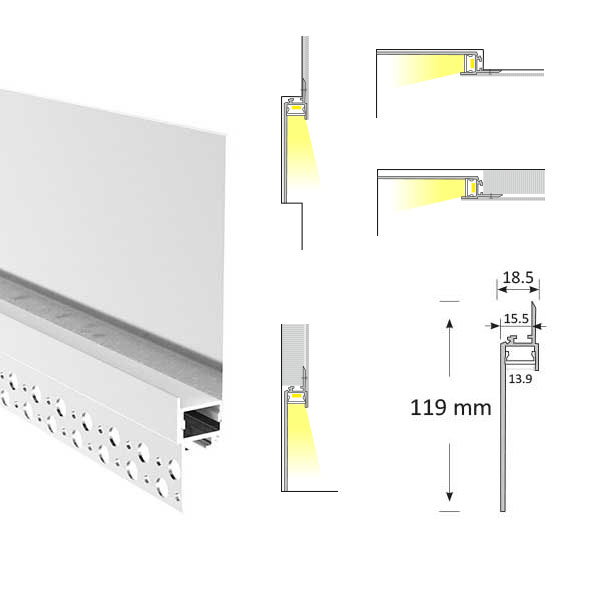 Cove Lighting Trimless Extrusion, TL013