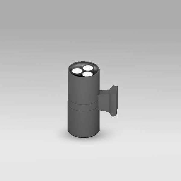 Exterior Updown Cylindrical Wall Light, 3Wx2