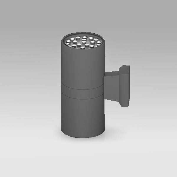 Exterior Updown Cylindrical Wall Light, 24Wx2