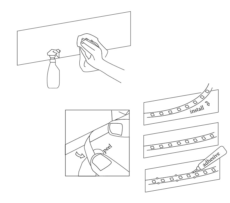 LED strip lights installation avoid falling off