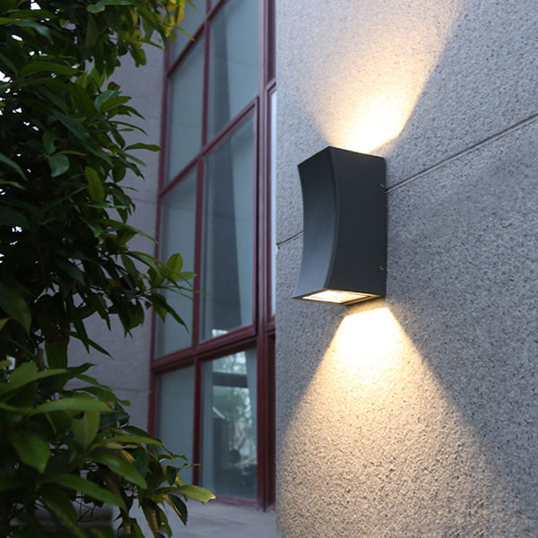 Outdoor black updown wall lights