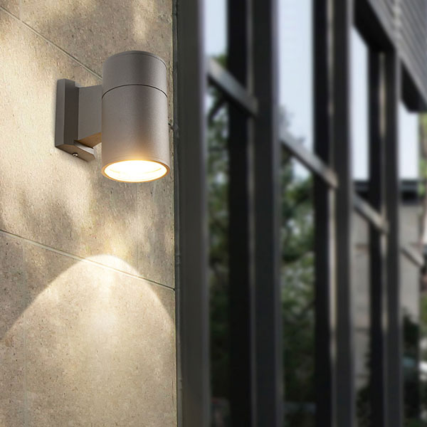 Outdoor grey wall light