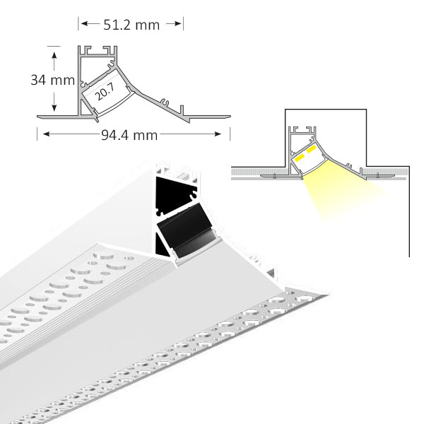 Cove Lighting Trimless Extrusion, TL015