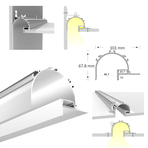 Vaulted Extrusion for Cove Lighting, TL020