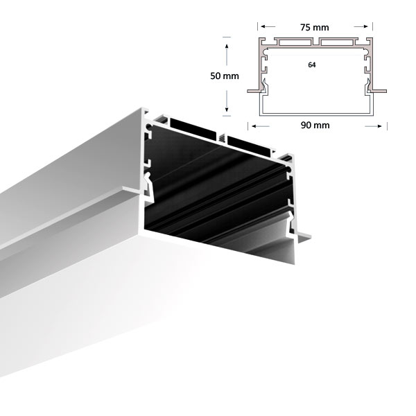 LED Extrusion with U-shaped Diffuser, 078-R