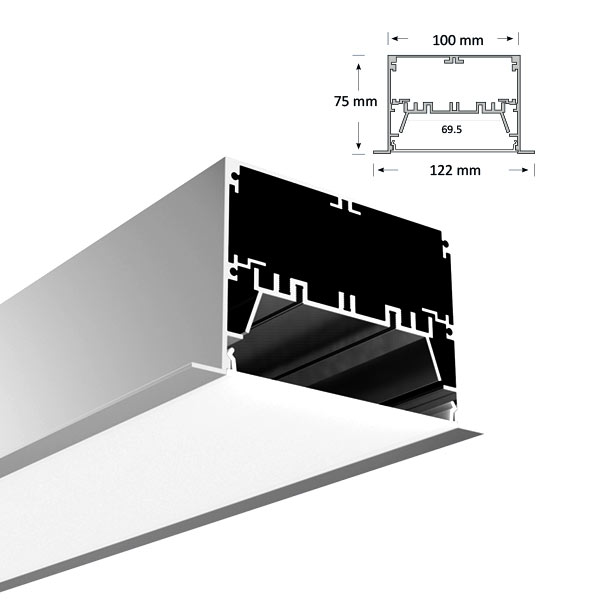 Ultra Wide Low Profile Recessed Extrusion, 100-R