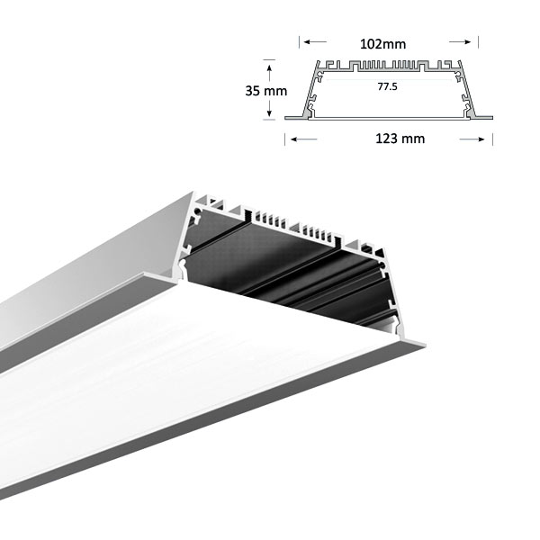 Ultra Wide Low Profile Recessed Extrusion, 101-R
