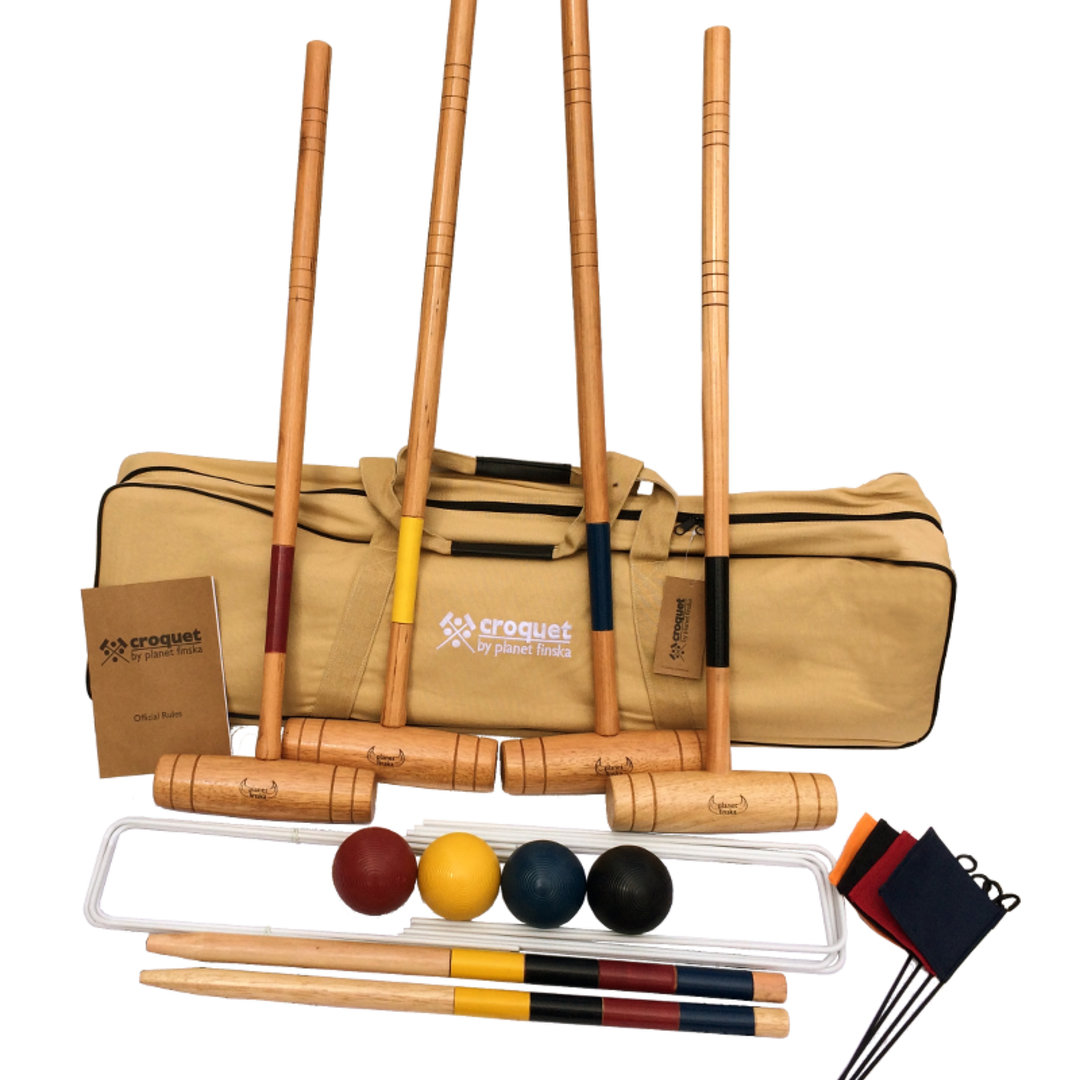 Our 4 player premium croquet set provides a step up for those wanting a more serious croquet experience. Each set includes: 4 chunky hardwood mallets, 4 full sized composite balls (84mm), 9 enamel coated steel wickets (6mm), 2 solid hardwood stakes and 4 corner flags. Premium Croquet comes packed in our superior heavy duty canvas bag and includes official rules for both nine wicket backyard croquet and six wicket garden croquet. The bag also caters for future upgrade to a 6 mallet set should you wish to add that later.