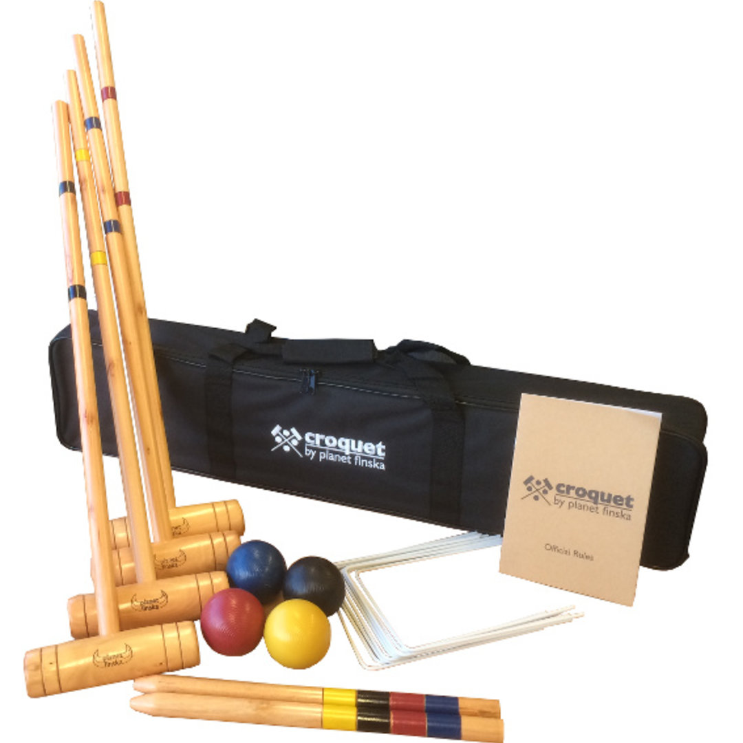 Our entry level 4 player croquet set is the perfect way to kick start your long-term enjoyment of croquet.   Great for both kids and adults, each set includes: 4 hardwood mallets, 4 quality composite balls (70mm), 9 painted steel wickets (3.7mm) and 2 hardwood stakes. Yes, the balls are composite not wood! It comes neatly packed in a durable nylon bag and includes easy to follow official rules for both nine wicket backyard croquet and six wicket garden croquet.