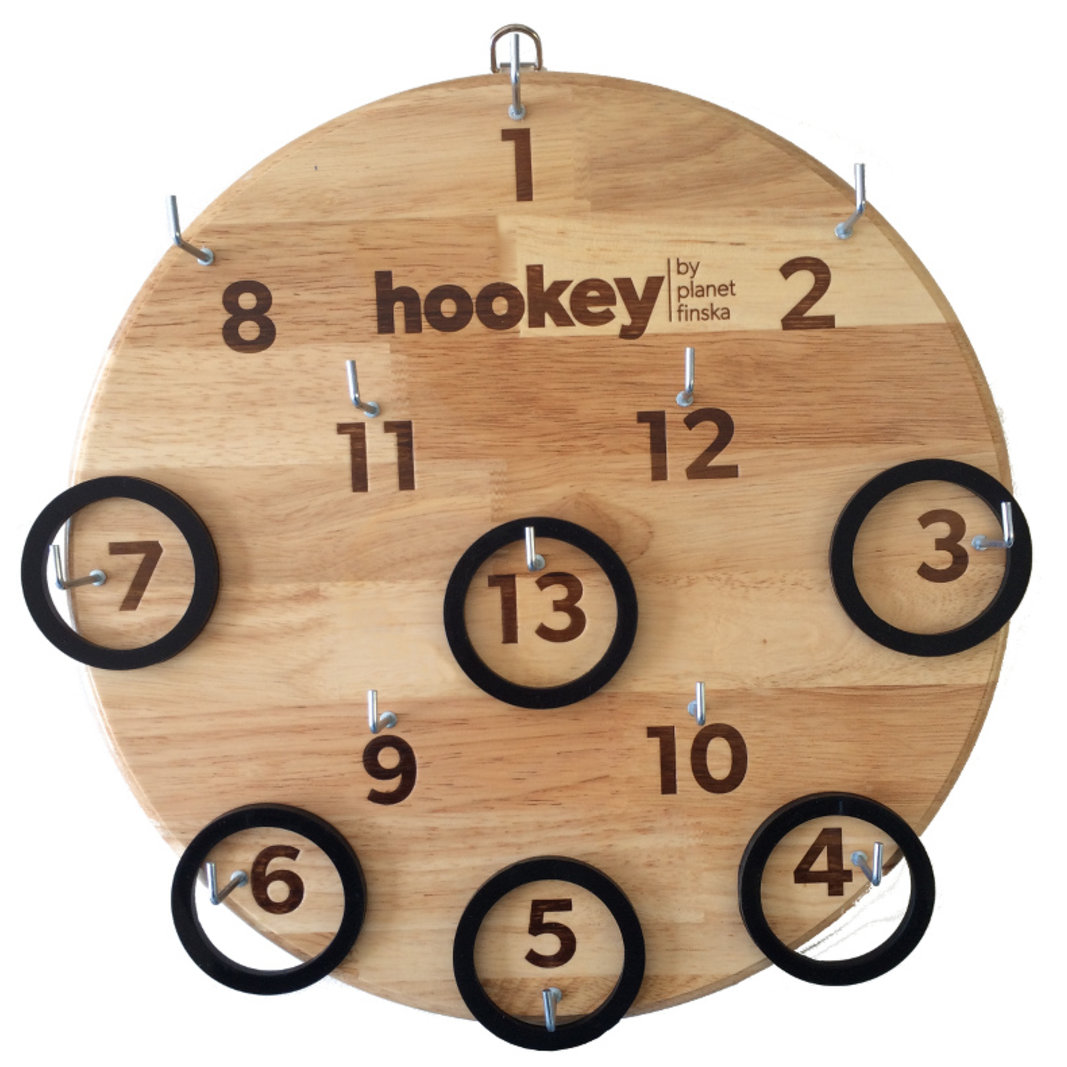 Who doesn't remember the old hookey board hanging on the verandah or nailed to the wall of the backyard dunny? At last, a real set of hookey Grandpa would be proud of. Unlike modern cheapies that are much smaller and made from chipboard, our design turns back the clock and delivers a real full sized board crafted from hardwood. Our premium hookey is beautifully finished in high gloss varnish and comes with 13 hooks and 6 black silicon rings.