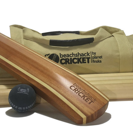 Our timber beach cricket sets come wth 4 or 6 stumps and a smart canvas duffle bag. Why buy plastic when you can have timber.