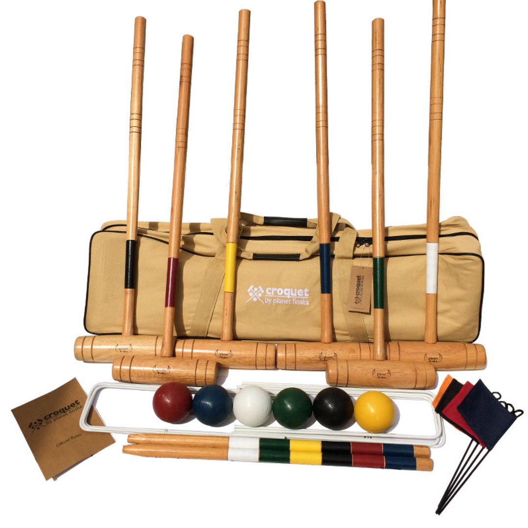 Our 6 player premium croquet provides a step up for those wanting a more serious croquet experience. Each set includes: 6 chunky hardwood mallets, 6 full sized composite balls (84mm), 9 enamel coated steel wickets (6mm), 2 solid hardwood stakes and 4 corner flags. Premium Croquet comes packed in our superior heavy duty canvas bag and includes official rules for both nine wicket backyard croquet and six wicket garden croquet.� -FREE DELIVERY AUSTRALIA WIDE-