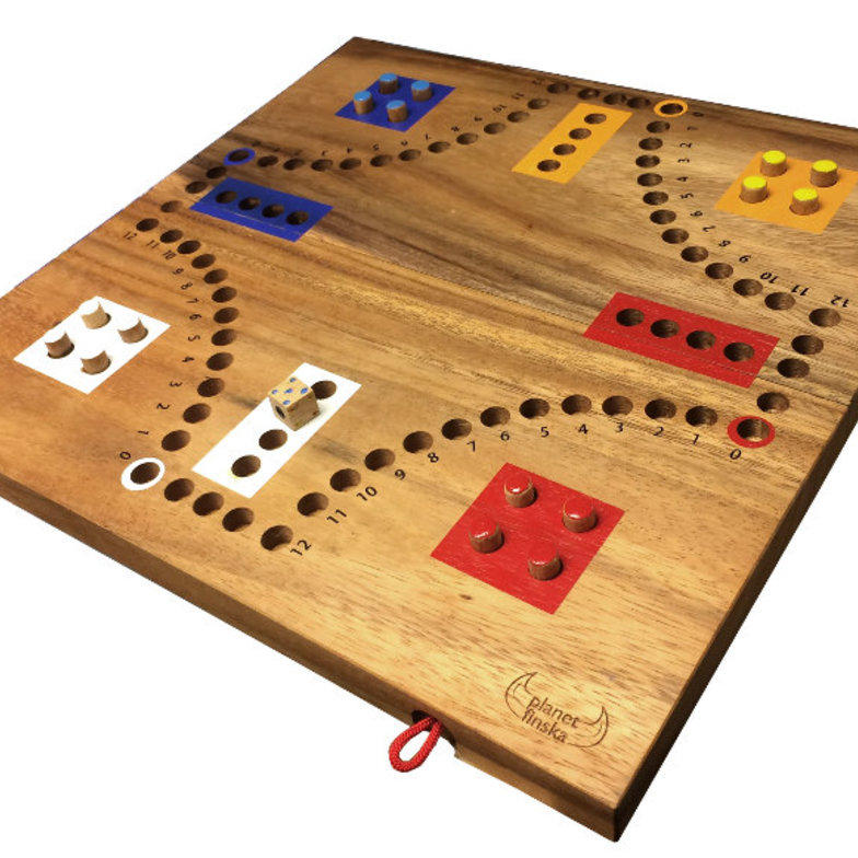 The earliest forms of ludo go back to the 6th Century where the game was known as Pachisi. The simple aim of this 2 to 4 player game is to race your four pegs around the board and get them home before your opponents. The game is however much more than pure luck. Strategic decisions must be made as to which piece to move and whether to launch another piece onto the playing board. Land on your opponent and send them back to the beginning! A great entry level thinking game for the whole family. Our big beautiful designer ludo folds in half for easy storage of the timber handpainted pegs. 33cm x 16.5cm x 4cm (when folded).