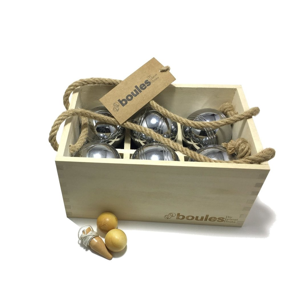 <p>Our premium set of six boules comes in its own stylish hardwood carry crate with dovetail jointed corners and jute handles.  Each set comprises six polished 70mm steel boules, two 30mm wooden cachonet and measuring string with wooden toggle. The cachonet and measuring string toggle are finished in a clear varnish to beautify and protect.  This set of six boules suits two or three players with each player having two boules with its own distinctive stripe pattern.</p>,<p>Our premium set of six boules comes in its own stylish hardwood carry crate with dovetail jointed corners and jute handles.  Each set comprises six polished 70mm steel boules, two 30mm wooden cachonet and measuring string with wooden toggle. The cachonet and measuring string toggle are finished in a clear varnish to beautify and protect.  This set of six boules suits two or three players with each player having two boules with its own distinctive stripe pattern.</p>