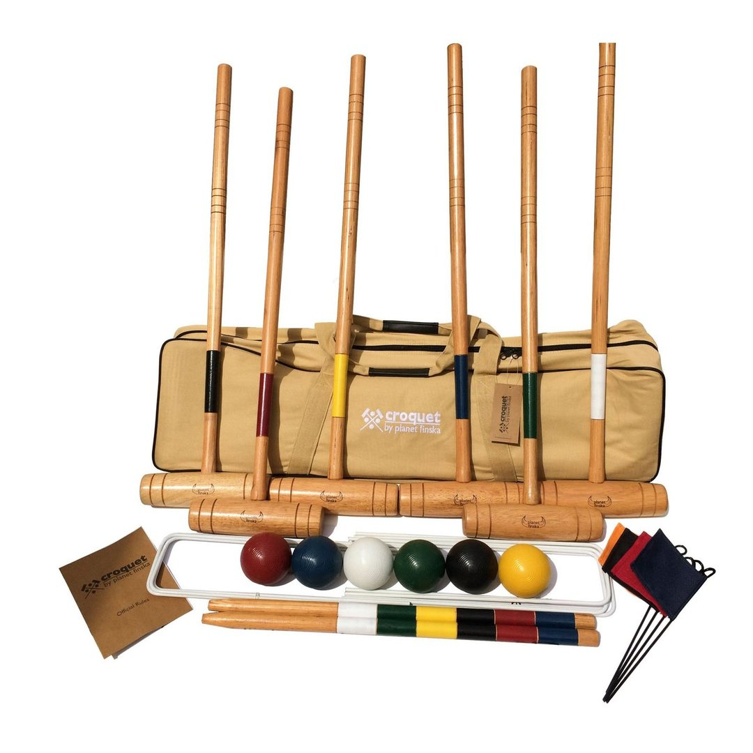 All Planet Finska croquet sets include varnished premium hardwood mallets, solid polymer balls and rule book covering both the English six wicket and American nine wicket versions of this classic yard game.