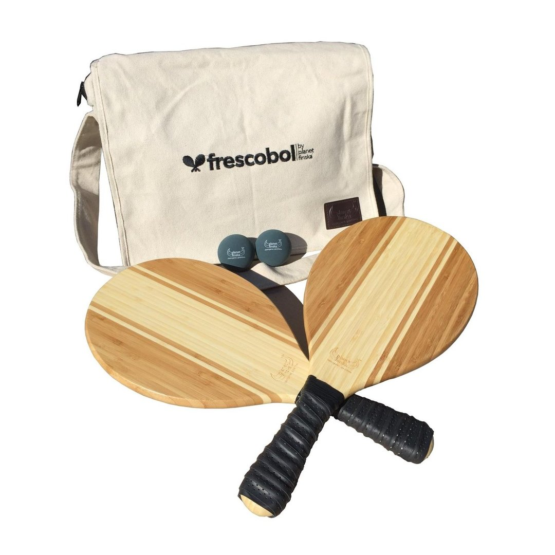 <p>Our Frescobol or Brasilian paddle bat sets come with two premium paddle bats, two balls and canvas satchel with shoulder strap. Byron bats are crafted from beautiful two tone bamboo.</p><p>,</p><p>Our Frescobol or Brasilian paddle bat sets come with two premium paddle bats, two balls and canvas satchel with shoulder strap. Byron bats are crafted from beautiful two tone bamboo.</p>