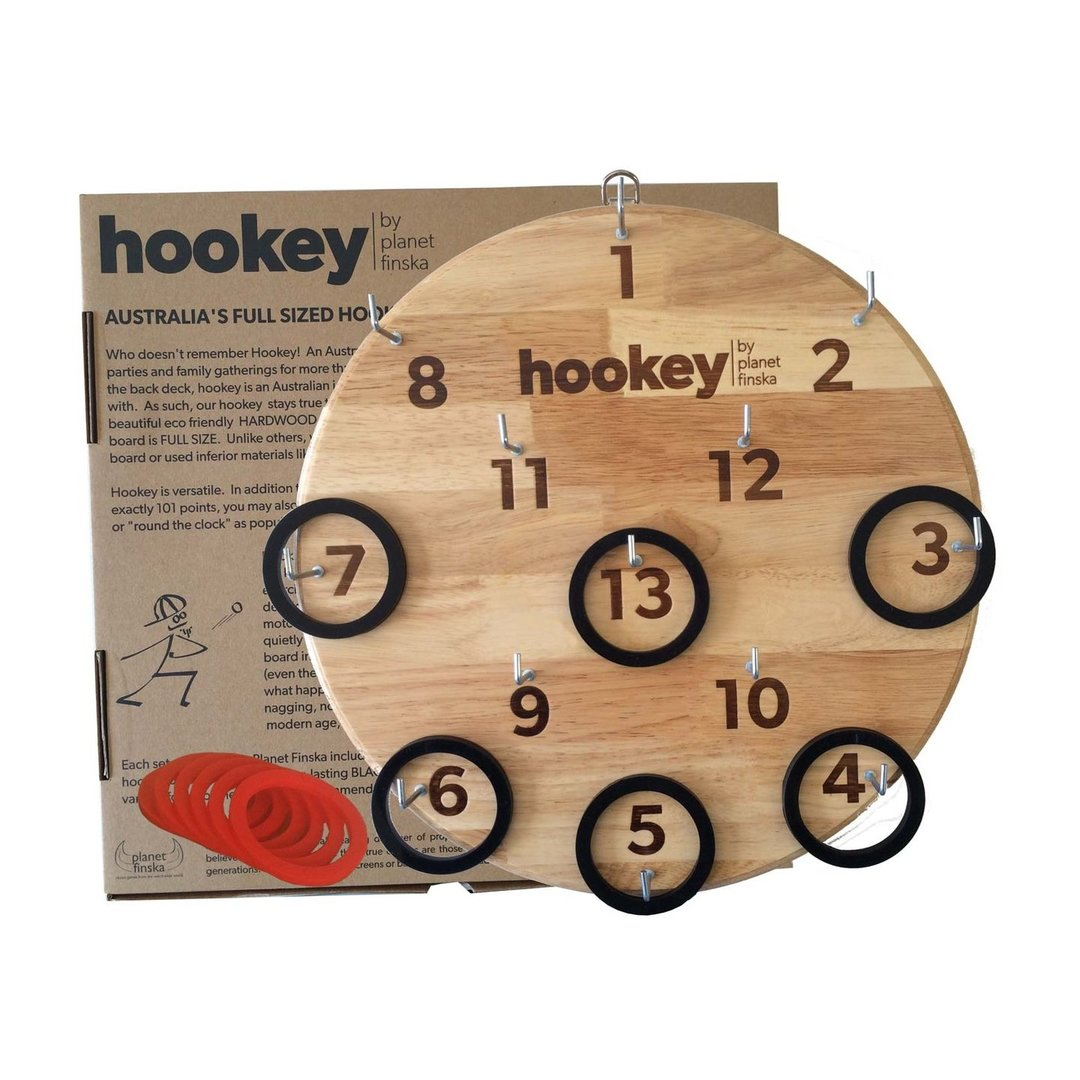 Our hookey boards are 34% bigger than other chipboard cheapies.  The only hookey boards still crafted from hardwood. Sets with red or black rings available.  Board artwork is applied by branding iron.
