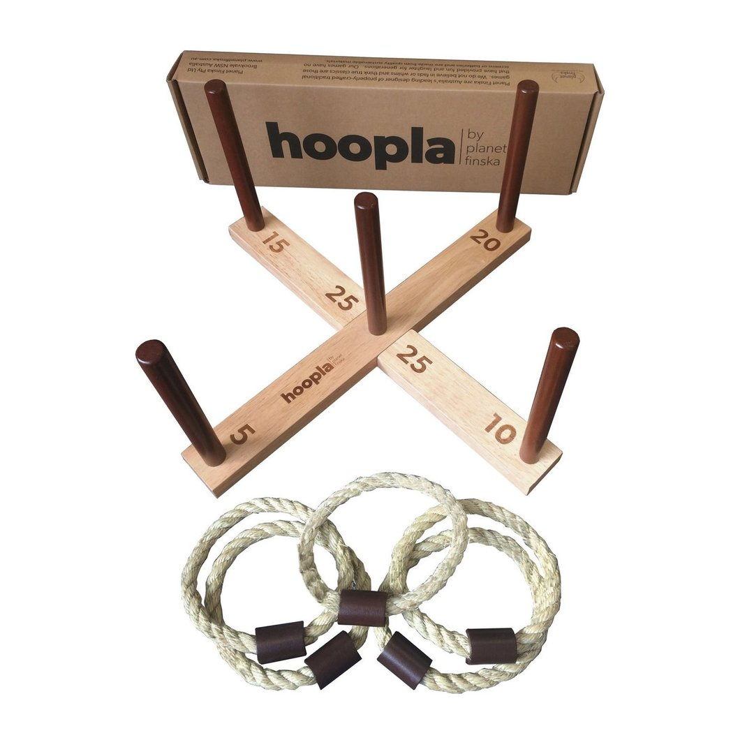 Hoopla is a simple but great fun traditional ring toss game for young and old.   Our version is played on a timber cross with 5 pegs and has origins as a Victorian parlour game.  Hoopla will provide a lot of laughs at your next barbecue or children's party.  It is an excellent way to get the kids counting and adding in fives!