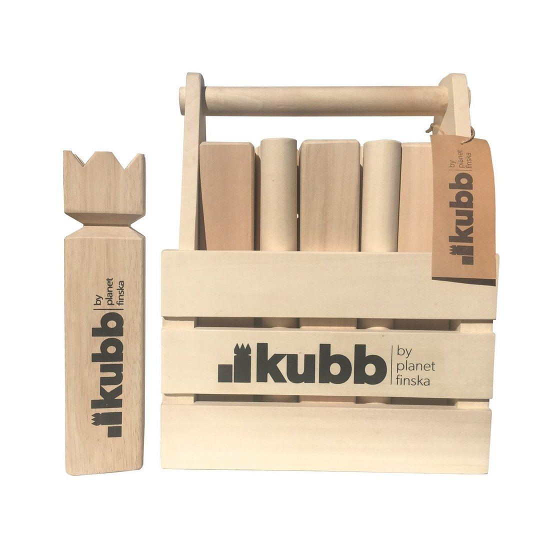 Kubb in Crate is our original Kubb set that comes in a solid well crafted hardwood carry crate.