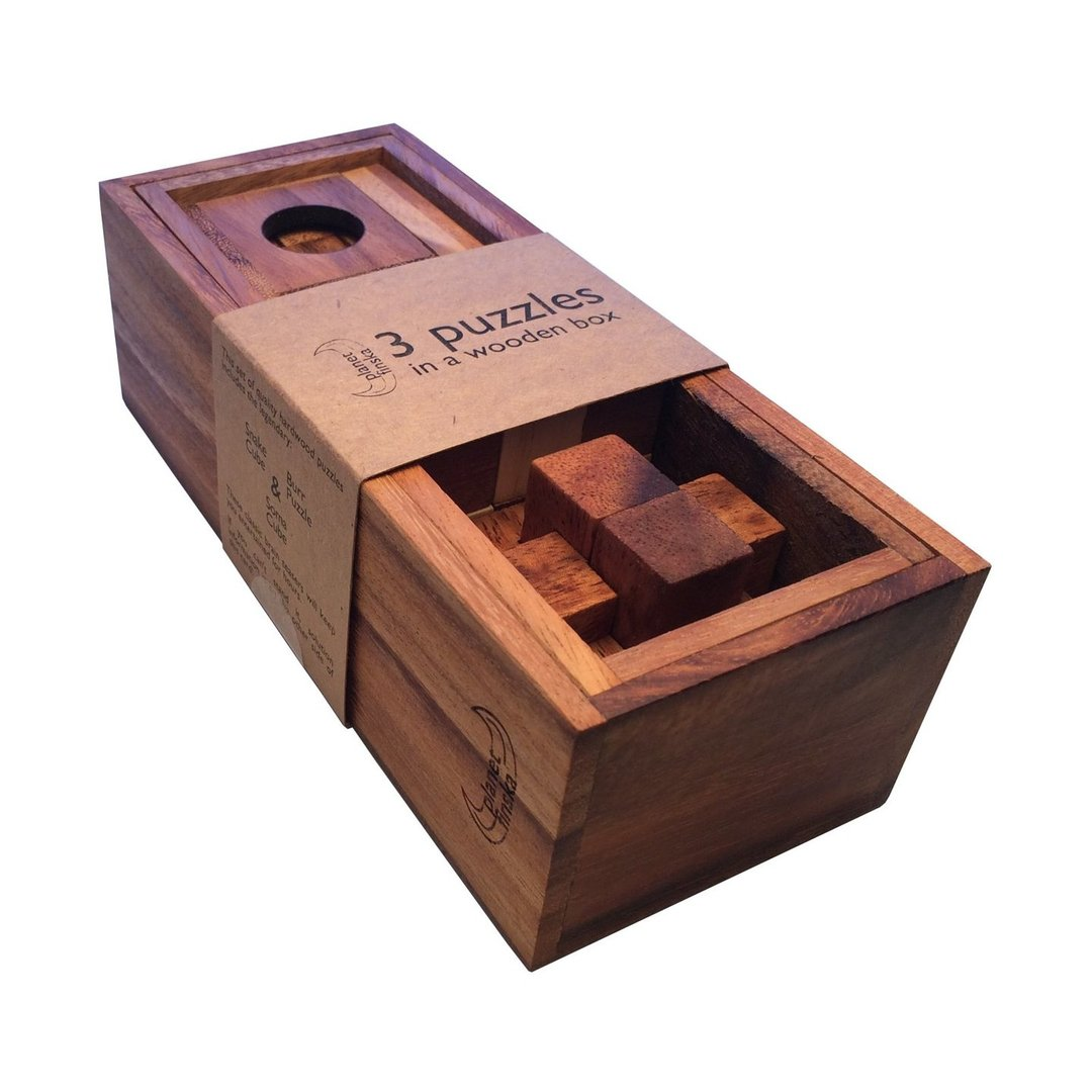 Classic brain teasers in beautiful hardwood boxes. The 3 and 4 puzzle sets come with timber lid. Our 5 puzzle set includes a tricky box divider that requires you to think outside of the box to solve its mystery.