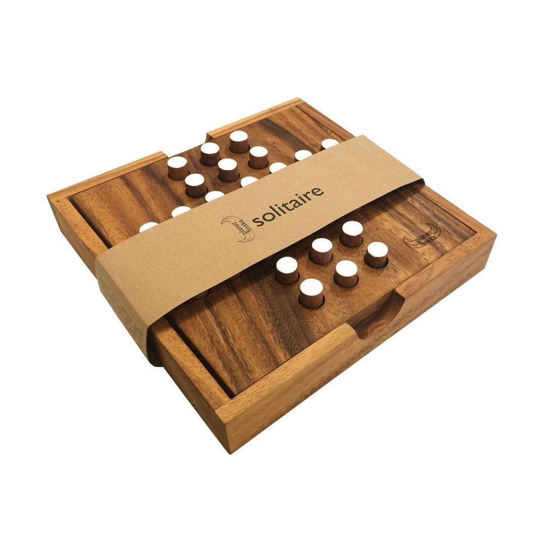 This classic brain teaser involves jumping the pegs one by one and removing every peg jumped.  The aim is to eliminate as many pegs as possible.  Perfection is to end up with only one peg in the centre.  Solitaire is crafted from eco-friendly hardwood and comes with beautiful timber lid.