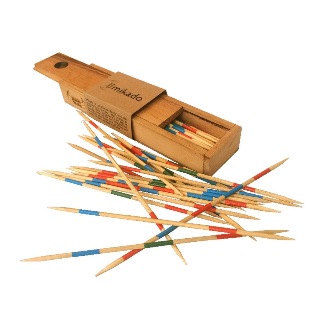 <p>When was the last time you played pick up sticks?  Originating in Europe, the highest scoring stick was named the Mikado after the Emperor of Japan.  In the USA and Australia, the game has widely been known as pick up sticks!  Our version comes in a perfectly crafted timber box with sliding lid.  200mm x 50mm x 28mm</p>