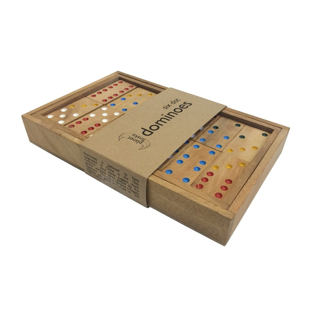 This traditional set of six dot dominoes has 28 handpainted hardwood tiles presented in a perfectly crafted timber box with lid. Six dot dominoes includes tiles with all numerical combinations from zero (blank) to six. Box size is 200mm x 125mm x 25mm and each set includes easy to follow rules.