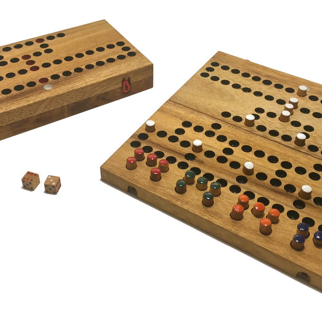 This classic game of strategy from the 19th Century is a tactical race to the top. Use cunning to block the progress of other players with barricades and get a single peg home first. The game folds in half for convenient storage of the handpainted dice and playing pegs. 26cm x 26cm.