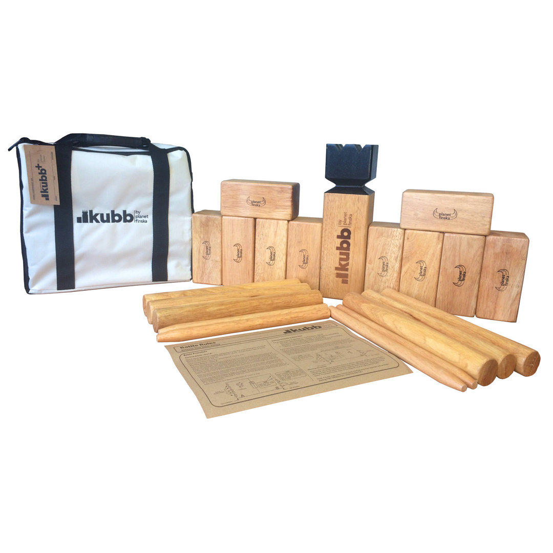 Kubb Premium Plus, is 30% larger than Kubb Premium and has chunkier Kubb World Championship sized playing pieces.