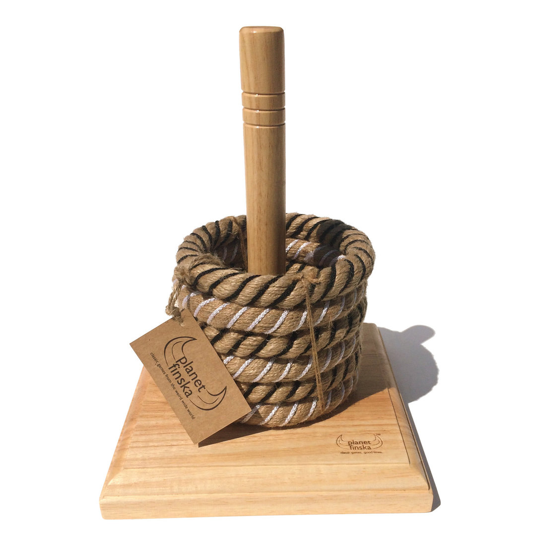 <p>Our rope quoits design is a genuine classic that will last for years. Crafted from environmentally sustainable hardwood, the solid 30mm thick block and peg is beautifully finished and guaranteed to not tip over. You won't find better quality traditional quoits at this price anywhere else.  Each set comes with 6 wire-centred hand made chunky rope quoits that are great to throw.</p>