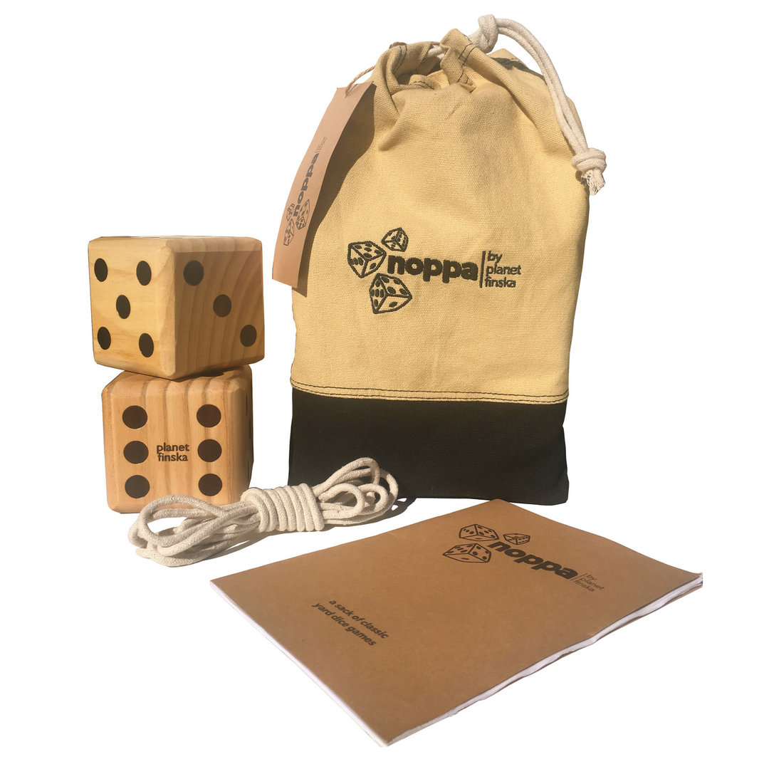 <p>New for 2017, we are excited to launch Noppa, our sack of classic dice games that will provide entertainment for young and old at your next barbecue or picnic. Each set includes 6 beautifully crafted jumbo wooden yard dice, length of rope and a rule book that includes a variety of classic dice games including Yardzee, Push Your Luck, Snake in the Hole and Ship, Captain, Crew.</p>
