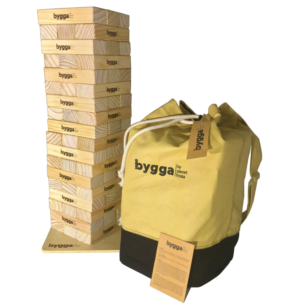 Meet Bygga, our giant sized outdoor tumble tower.  Bygga, which is Swedish for build comes with 54 jumbo sized blocks, stabilising baseboard and its own stylish duffle bag with shoulder strap.� - FREE DELIVERY AUSTRALIA WIDE -