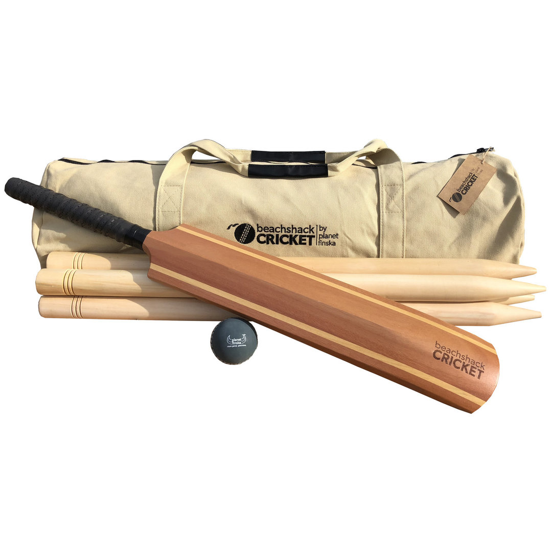 <p>Our timber beach cricket sets come wth 4 or 6 stumps and a smart canvas duffle bag.  Why buy plastic when you can have timber.</p>