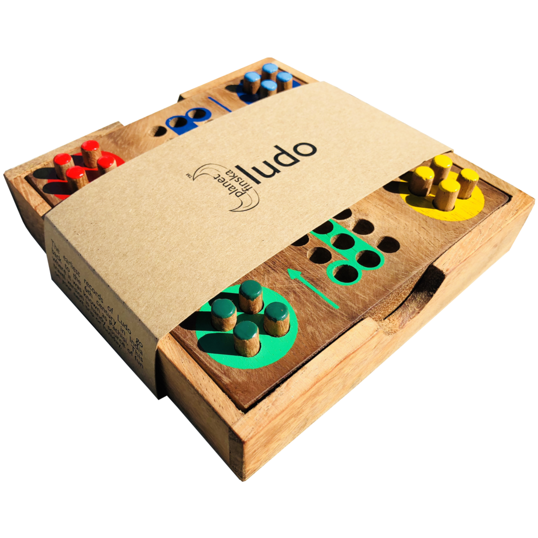 Ludo dates back to the 6th Century in India where the game was known as Pachisi. Race your four pegs around the board and get them all home before your three opponents can do the same. Land on your opponent's peg and send them back to the start. Ludo is frustratingly good fun. 130mm x 130mm x 25mm
