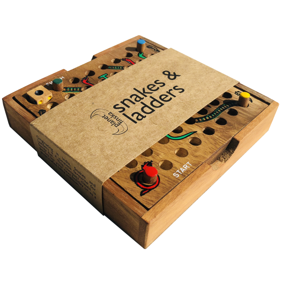 <p>Originating in India, Snakes and Ladders is a long standing family favourite. This compact travel set for four players is perfect for your next holiday or great as a casual coffee table addition. 135mm x 135mm x 28mm</p>