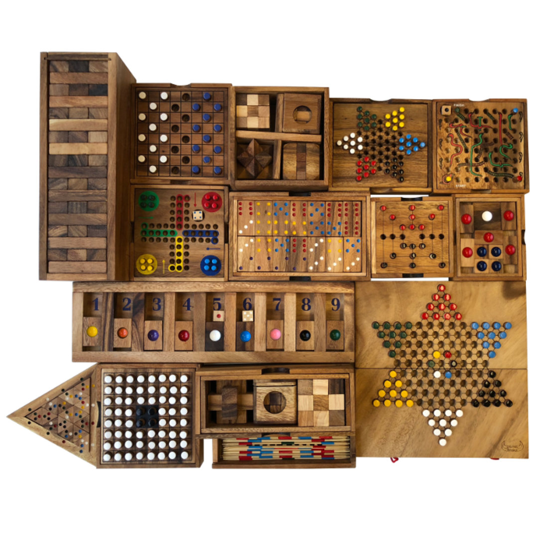<p>Our selection of classic table games are all crafted from eco-friendly hardwood.  Includes family favourites like Chinese Checkers, Ludo, Tumble Tower, Pick Up Sticks and a selection of brain teasers, travel games and pub games.</p><p> </p>