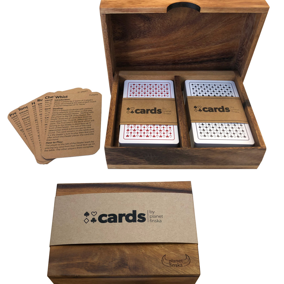 <p>New for 2018, Cards by Planet Finska includes two sets of premium casino quality playing cards in a beautiful hardwood box. Our very durable cards are washable and the edges will never fray.&nbsp; Each set also includes a selection of mini rule cards for some well-loved easy to learn classics so you are never stuck for what to play.&nbsp; A perfect coffee table or holiday house addition.&nbsp;</p>