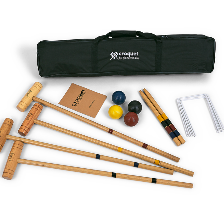 Our entry level 4 player croquet set is the perfect way to kick start your long-term enjoyment of croquet.   Great for both kids and adults, each set includes: 4 hardwood mallets, 4 quality composite balls (70mm), 9 painted steel wickets (3.7mm) and 2 hardwood stakes. Yes, the balls are composite not wood! It comes neatly packed in a durable nylon bag and includes easy to follow official rules for both nine wicket backyard croquet and six wicket garden croquet.� -FREE DELIVERY AUSTRALIA WIDE-