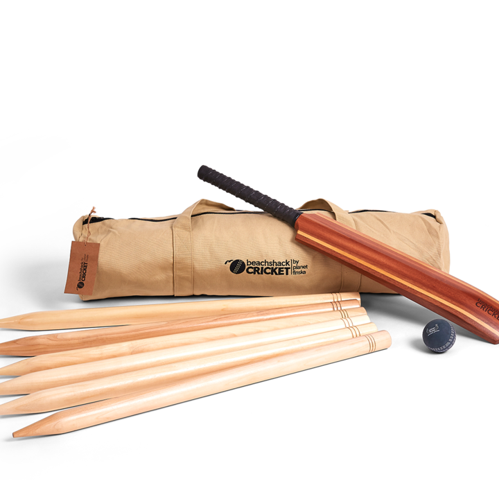 <p>Our hardwood beachshack cricket set has been crafted with a classic longboard twin stripe bat design. Six chunky 4cm hardwood stumps are polished smooth and varnished. Beachshack cricket also comes with rubber beach cricket ball and quality embroidered canvas duffle bag.</p>
