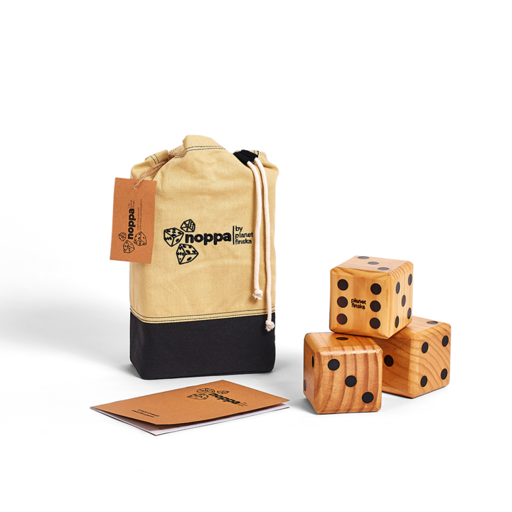 New for 2017, we are excited to launch Noppa, our sack of classic dice games that will provide entertainment for young and old at your next barbecue or picnic. Each set includes 6 beautifully crafted jumbo wooden yard dice, length of rope and a rule book that includes a variety of classic dice games including Yardzee, Push Your Luck, Snake in the Hole and Ship, Captain, Crew.