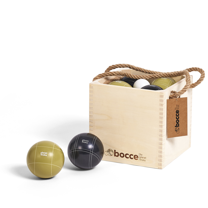 Bocce by Planet Finska has eight big and beautiful full-sized (100mm) balls crafted from superior polished resin. Their look and feel is superb. Each set includes two sets of four balls in smart black and olive as well as a 50mm white polished resin palIino . The four bocce balls of each colour comprise 2 sets of two balls with a unique engraved pattern so the game can cater for two or four players. This set of bocce comes in a beautiful wooden carry crate with reinforced finger jointed corners and laser engraved artwork.