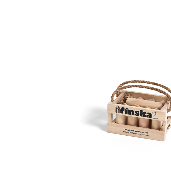 Our BRAND NEW mini sized version of Original Finska crafted from natural unfinished birch.  Finska can now be played indoors!